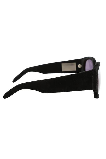 Alexander Wang Suede Curve Rectangle Sunglasses - Black