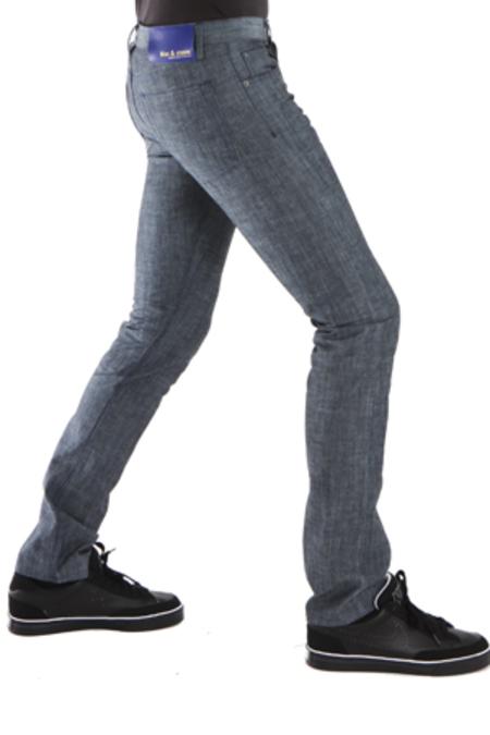 Blue&Cream Slim Straight Light Indigo Linen Blend Denim Pants - Light Blue