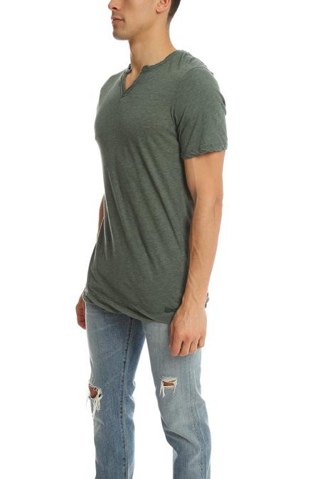V::Room Highsoft Jersey Slit T-Shirt - Forest Green