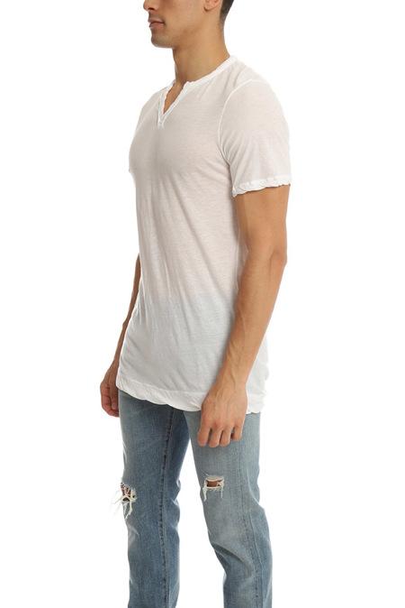 V::Room Slit Neck T-Shirt - White