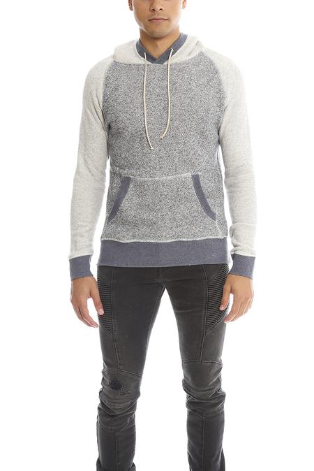 Blue&Cream Pullover Hoodie Sweater - Navy/Grey