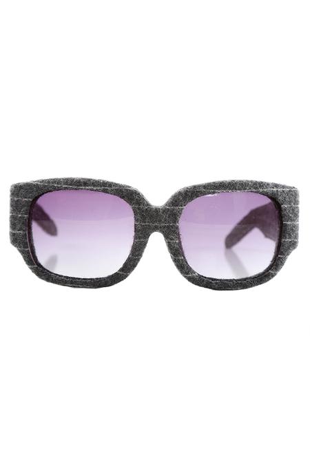 Alexander Wang Pinstripe Curved Rectangle Sunglasses - Grey Pinstripe