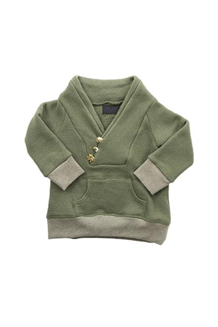 Kids Blue&Cream Shawl Neck Safari Sweatshirt - Young Olive