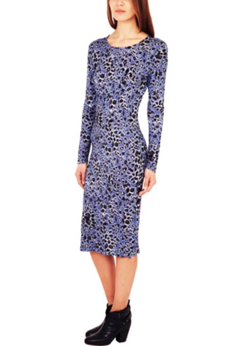DEREK LAM Peri Printed Long Sleeve Dress - Blue