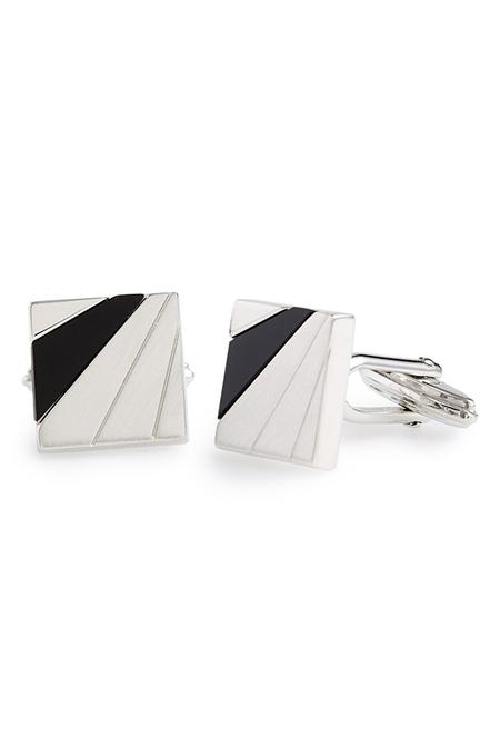 Lanvin Square Onyx Cuff Links - Silver/Black