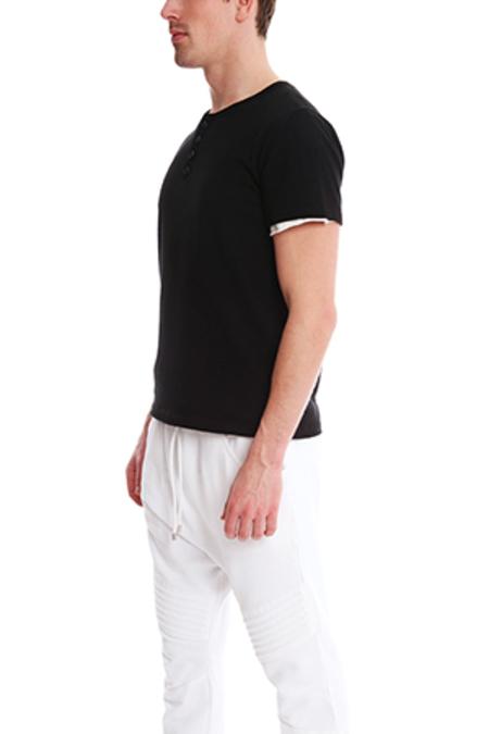 Pierre Balmain Double Face Henley T-Shirt - Black