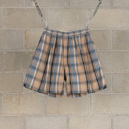 KAPTAIN SUNSHINE Athletic Wide Shorts - Beige Plaid