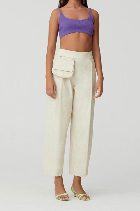 Paloma Wool Jueves Cotton Linen Pants - Off White