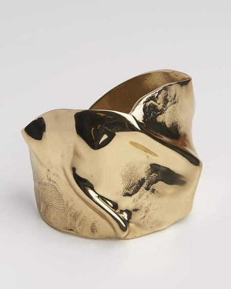 Cornelia Webb Wide Folded Cuff With Skin Imprint - Gold