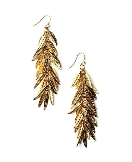 Jennifer Tuton Shimmer Feather Earrings - Gold
