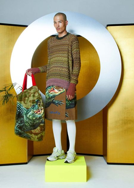 BERNHARD WILLHELM scale texture sweater