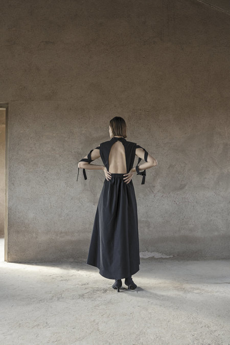 K M by L A N G E Open Back Lena Dress - Black