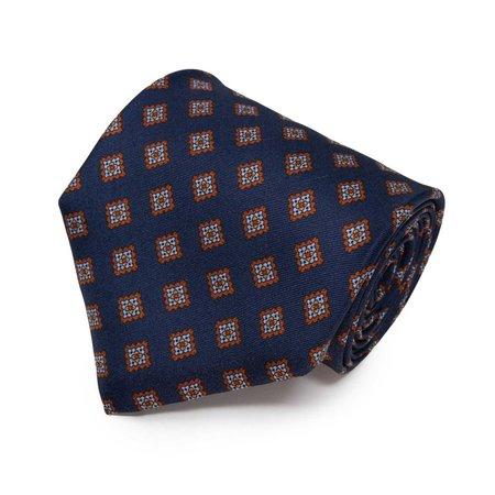 Sera Fine Silk Tie - Navy Blue/Light Blue Rombs Pattern