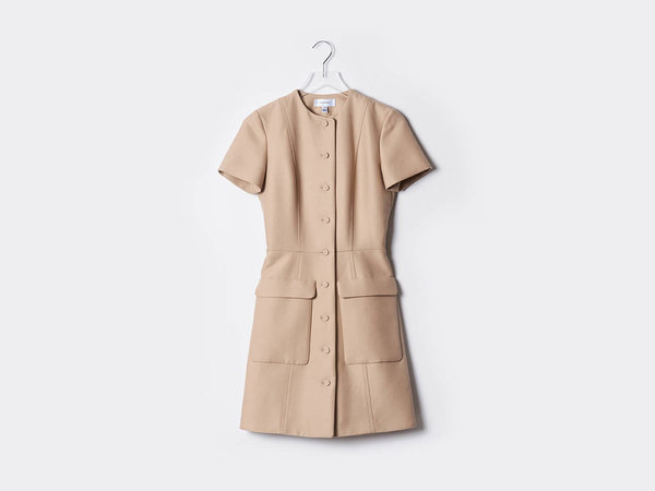 Carven Gabardine Belted Dress