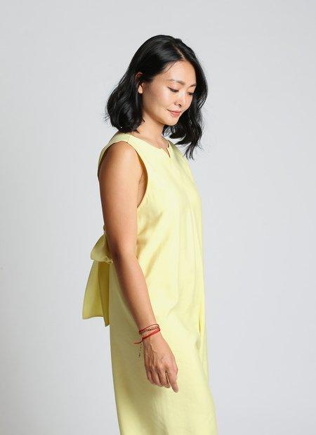 KAAREM Cat Chu Back Knot Tie Onesie - Lemon