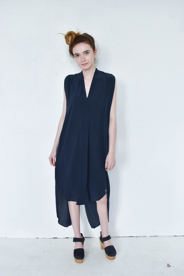 7115 By Szeki Navy Silk Origami Dress