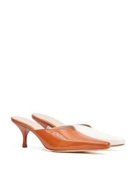 Kalda Two-tone Leather Mules - Brown