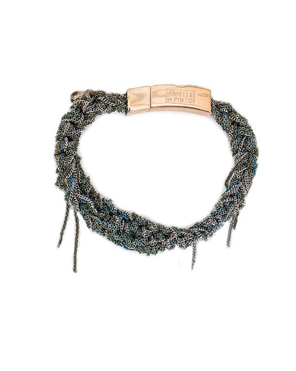 Arielle De Pinto Tennis Bracelet with Push Clasp in Ash & Army