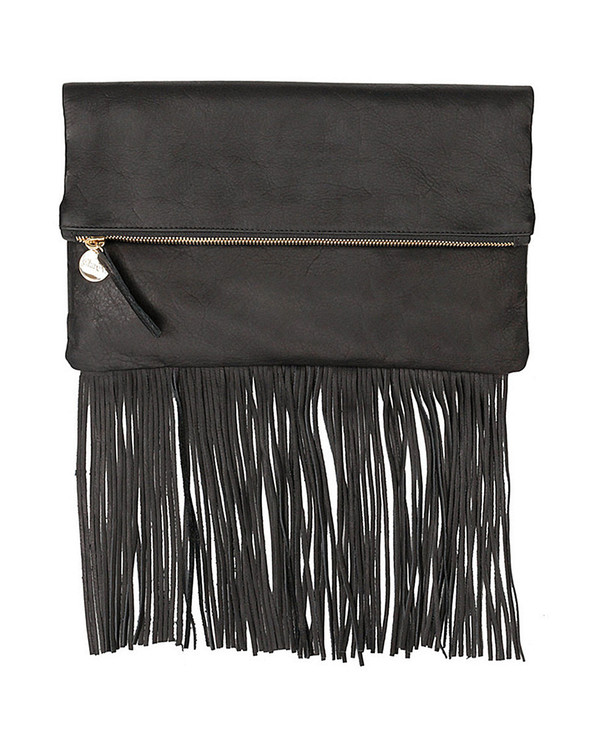 Clare V. Fringe Foldover Clutch in Black Leather