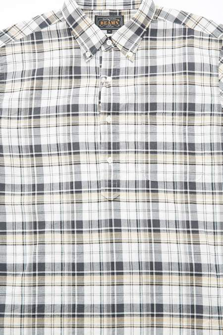 Beams Plus Short Sleeve Pullover B.D. Madras Shirt - Grey
