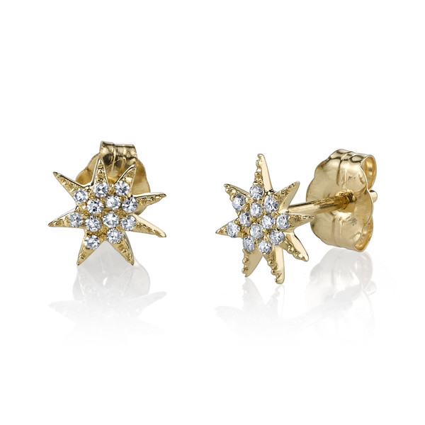 Gabriela Artigas Pave Star Stud Earrings in Yellow Gold