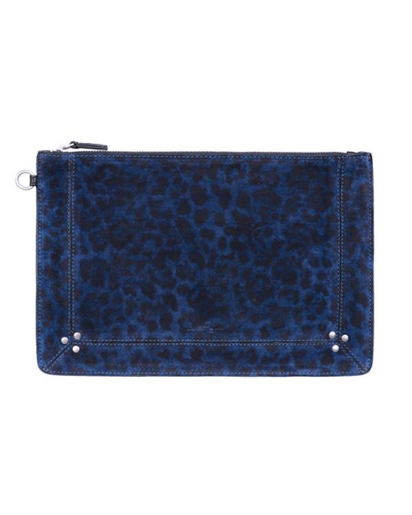 Jerome Dreyfuss Large Popoche in Blue Leopard Suede
