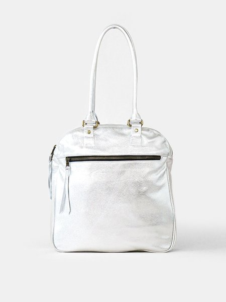 Erica Tanov Leather Bowling Bag - Silver