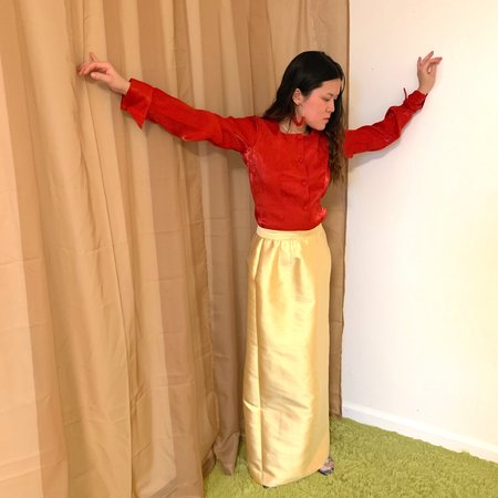 Vintage Kintsugi Dupioni Skirt - Yellow