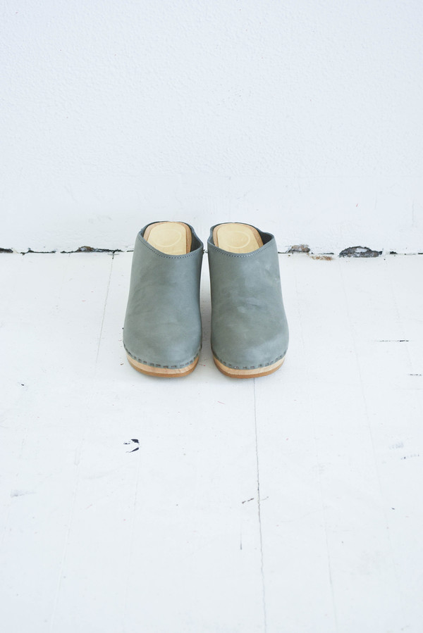 No. 6 New School Wedge Clogs in Elephant Suede