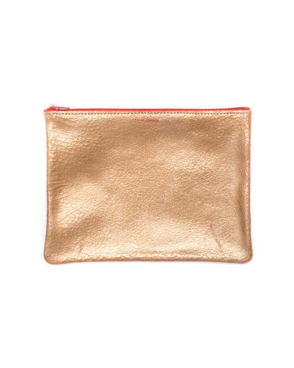 Tracey Tanner Large Flat Zip Pouch in Distressed Bronze