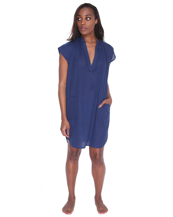 Two Caftans Blue Khadi Tunic Dress