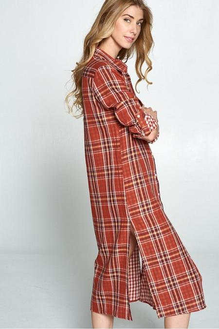 Ellison Maxi Plaid Dress - Rust