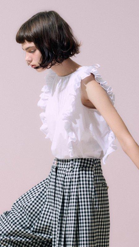 Neul Frill Sleeveless Blouse Top - White