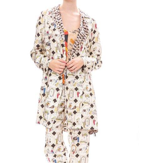 La Prestic Ouiston silk reversible jacket - Leopard/Moroccan Print