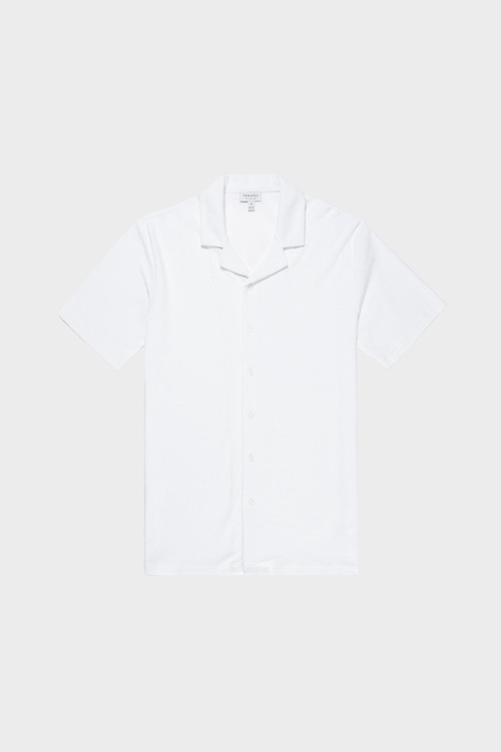 Sunspel Toweling Camp Collar Shirt - White