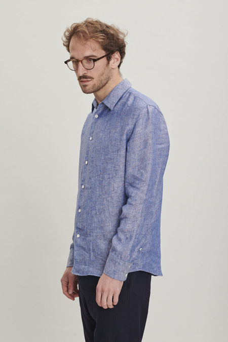 Delikatessen Linen Feel Good Shirt - Speckled Blue