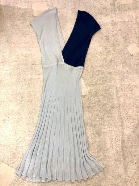 Sartoria Vico Colorblock Mini Pleat Dress - Ice/Blue