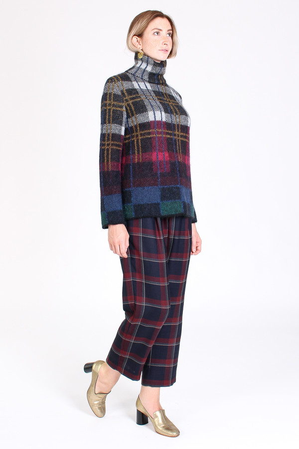 Suno Turtleneck sweater in plaid