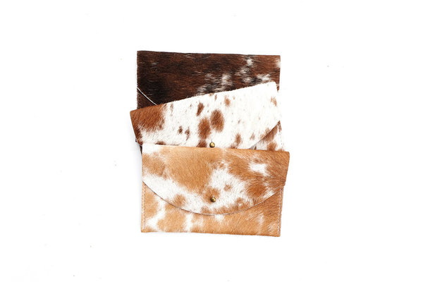 Primecut BROWN SPOTTED COWHIDE PASSPORT CLUTCH