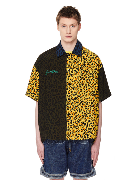 JUST DON Leopard Warmup Shirt - Multicolor