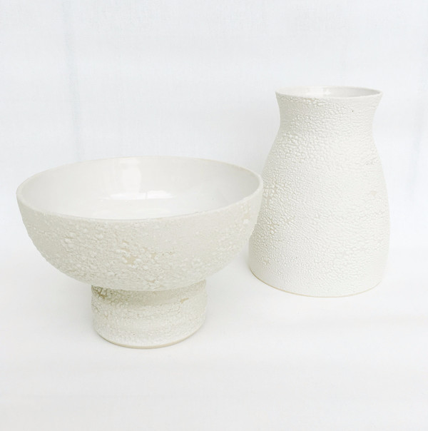 Ashley Hardy White Crackle Pedestal Bowl