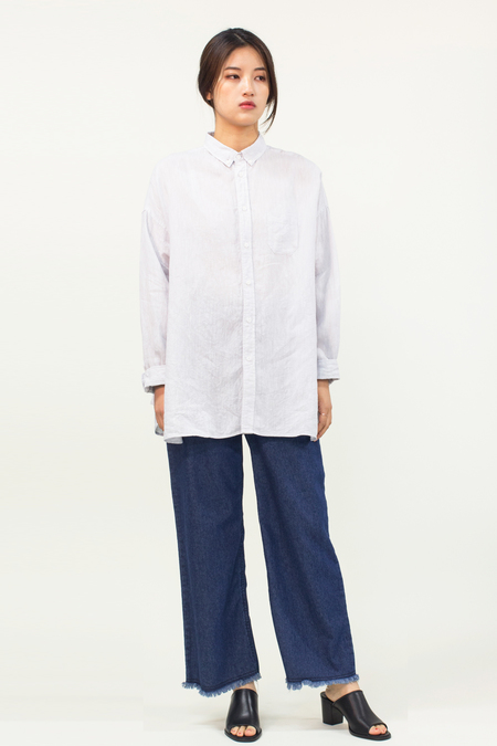 Universal Tissu Linen Collar Shirt- Light Grey
