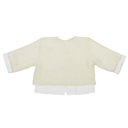 Kids Pequeno Tocon Wool Sweater With Shirt Attached - Cream/White