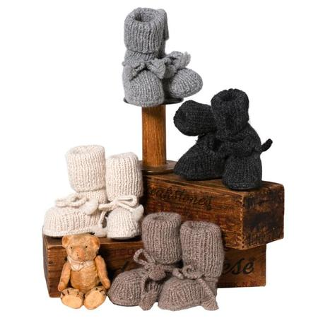 Kids Tane Organics Alpaca Sock Booties with Ties - Chestnut Brown