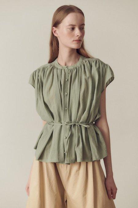 Hidden Forest Market Shirring Blouse - Light Olive