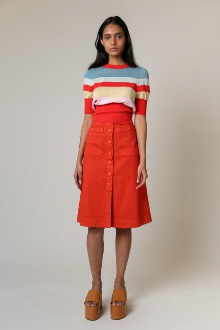 Rachel Antonoff Rosemary Midi Skirt - Blood Orange