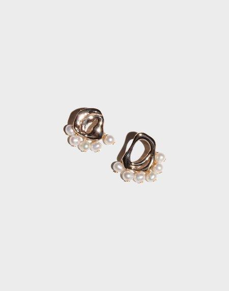 Modern Weaving Petite Dancing Pearl Drop Earrings - Bronze Fresh Water Pearl