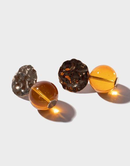 Modern Weaving Petite Textured Globe Earrings - Amber Glass