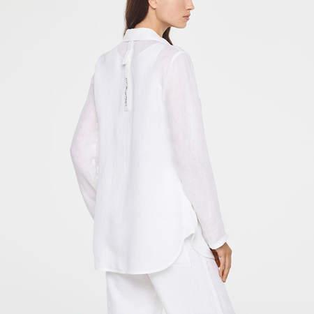 Sarah Pacini linen button down shirt - pale blue