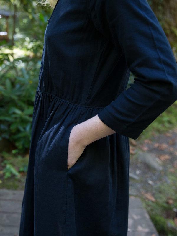 Wrk-Shp Navy Button Dress